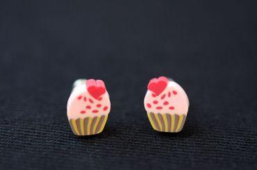Muffin Ohrstecker Miniblings Stecker Ohrringe Törtchen Cupcake rosa Herz – Bild 5