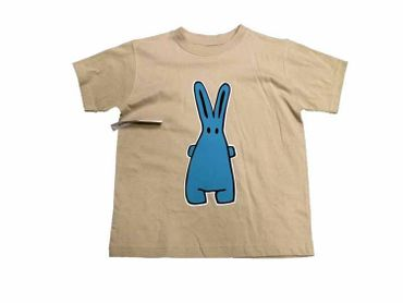 Baby Child Children Tshirt Kalle Fux Hand Printed Kids Tshirt Beige Rabbit Blue Size122