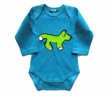 Baby Child Children One-Piece Rompers Oncie Kalle Fux Hand Printed Turquoise Animal Fox Green Size62 – Bild 2