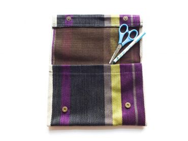 Clutch Wallet Tablet Stripe Bag Miniblings Federmappe Textile 27X18cm XL Purple Purse – Bild 3