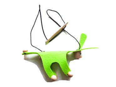 Marionette Puppet Wood Children Felt Kalle Fux Children Child Donkey Dog Neon-Green – Bild 1