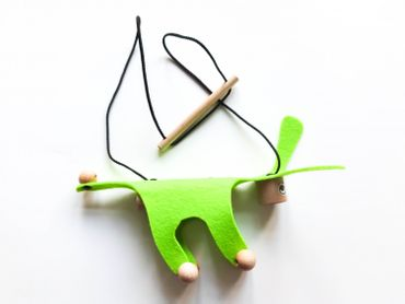 Marionette Puppet Wood Children Felt Kalle Fux Children Child Donkey Dog Neon-Green – Bild 3