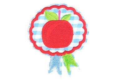 Apple Badge Patch Hotfix Iron On Application Iron On Motif Miniblings Blue White Diamonds 55X65mm