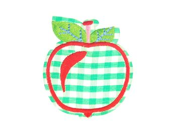 Apple Patch Hotfix Iron On Application Iron On Motif Miniblings Fruit Apple Green White Karo 55X65mm – Bild 1