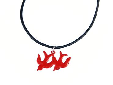 Enamel 2 Swallows Necklace Miniblings Necklace Swallow Bird Leather Red – Bild 2
