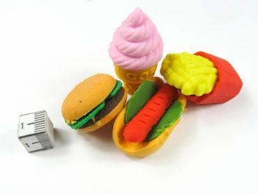 4er Set Radiergummi Fast Food Radierer Miniblings Eis Hamburger Pommes HotDog – Bild 2