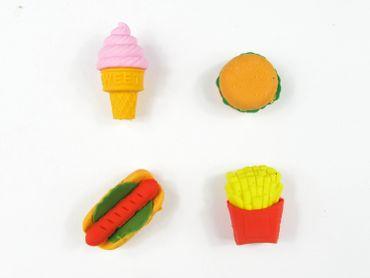 Set Of 4 Rubber Erasers Fast Food Hamburger Miniblings Ice Chips Hotdog Kids School Kindergarten – Bild 3