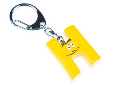 H Barbapapa Key Ring Miniblings Pendant Letter Initial Yellow – Bild 1