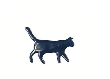 Cat Enamel Brooch Pin Miniblings Animal Pet Cat Enamelled Black – Bild 1