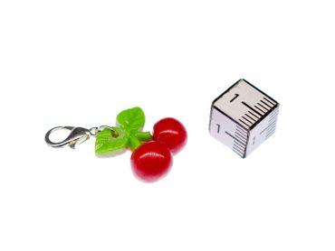 Kirsche Charm Zipper Pull Anhänger Miniblings doppel klein Kirschen Obst Früchte – Bild 4