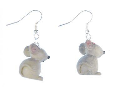 Maus 3D Ohrringe Mausohrringe Miniblings Ratte Mäuse Tier Mäuschen Blume grau – Bild 1