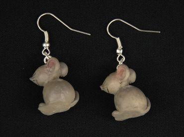 Maus 3D Ohrringe Mausohrringe Miniblings Ratte Mäuse Tier Mäuschen Blume grau – Bild 4