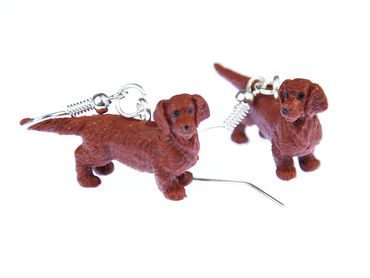 Dachshund Rubber Dog Earrings Miniblings Dachshund Brown – Bild 3