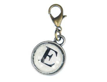 Buchstabe E Charm Anhänger Bettelhänger Miniblings Cabochon Glas ABC Bronze – Bild 1