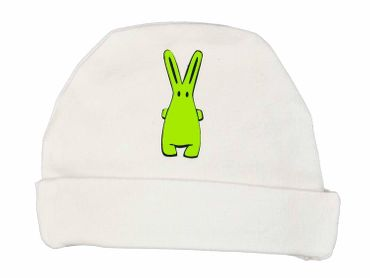 Baby Child Children Hat Kalle Fux Hand Printed White Rabbit Green Ku 36cm Baby Child Children Hat – Bild 1