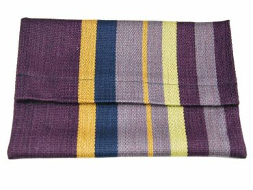 Clutch Wallet Tablet Stripe Bag Miniblings Textile 27X18cm XL Wine Red Violet – Bild 1