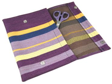 Clutch Wallet Tablet Stripe Bag Miniblings Textile 27X18cm XL Wine Red Violet – Bild 3