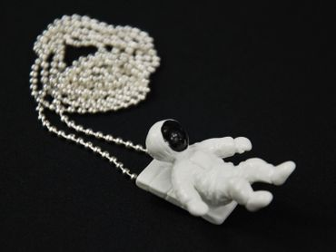 Cosmonaut Spaceman Miniblings White Space 80cm Silver Plated – Bild 5