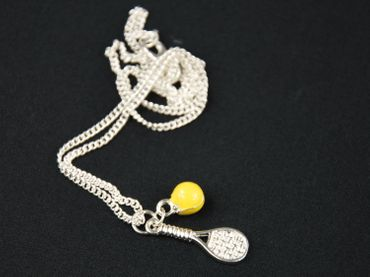Tennis Necklace Tennis Tennis Racket Tennis Ball Enamel Miniblings 45cm Silver Plated – Bild 5