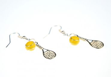 Tennis Earrings Tennis Racket Ball Miniblings Racket Tennis Ball Enamelled 2Er – Bild 2