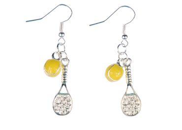 Tennis Ohrringe Tennisschläger Ball Miniblings Schläger Tennisball emailiert 2er – Bild 1