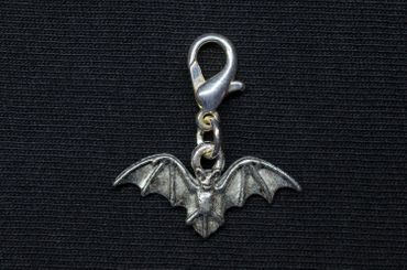 Bat Charm Miniblings For Bracelet  Vampire Halloween Silver Plated – Bild 2