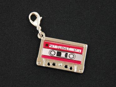 Cassette MC Tape Charm Music Zipper Pull Pendant Mixtape Miniblings Silver Pink – Bild 2