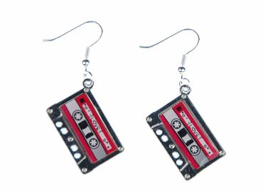 Cassette Earrings Miniblings Dj Music Musician Tape Mixtape Silver Pink – Bild 1