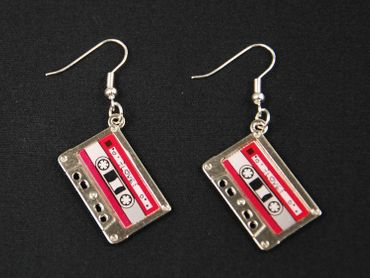 Cassette Earrings Miniblings Dj Music Musician Tape Mixtape Silver Pink – Bild 2