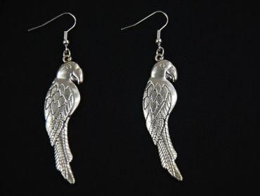 Papagei Ohrringe Miniblings Vogel Vögel exotisch Ara Papageien 6cm versilbert – Bild 1