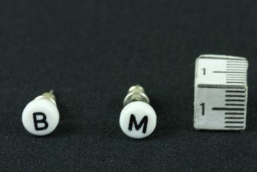 WUNSCH Buchstaben Ohrstecker Stecker Miniblings Wunsch ABC Initialen weiß B+? – Bild 4