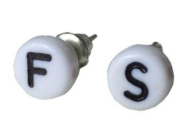 WUNSCH Buchstaben Ohrstecker Stecker Miniblings Wunsch ABC Initialen weiß J+? – Bild 1