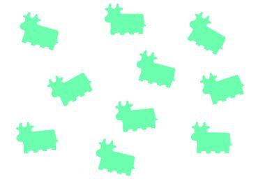 10x Bügelbild Bügelbilder Aufnäher Patch Miniblings 27mm FLOCK Kuh Rind Kalb – Bild 13