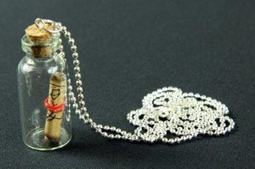 Flaschenpost Schatzkarte Kette Halskette Miniblings 80cm Geheimnis Flasche Glas – Bild 1
