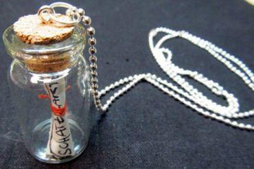 Flaschenpost Schatzkarte Kette Halskette Miniblings 80cm Geheimnis Flasche Glas – Bild 5