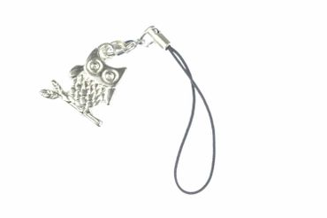 Owl Bird Mobile Phone Charm Pendant Miniblings Owl Bird Pendant Cell Phone Silver – Bild 1