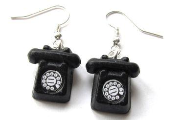 Telefon Ohrringe Telefonohrringe mit Wahlscheibe Hörer Miniblings Retro schwz – Bild 1