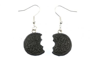 Dark Bite Earrings Miniblings Biscuit Cookie Biscuits Filling – Bild 1
