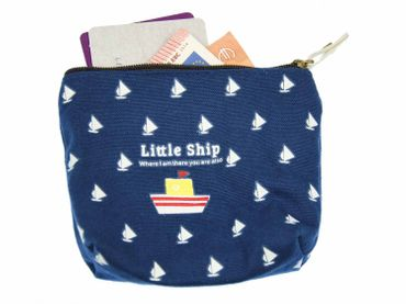 Ship wallet purse bag  boat blue With Zipper – Bild 2