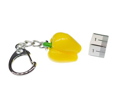 Paprika Key NecklaceKey Ring Vegetables Miniblings Key Ring Pepper Food Yellow Capsicum – Bild 2