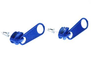 ReReißverschluss Ohrstecker Miniblings Zipper Stecker Ohrringe Upcycling blau rund – Bild 4