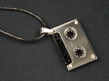 Cassette Music Necklace Miniblings Fabric Ribbon Tape DJ Mc Silver – Bild 2
