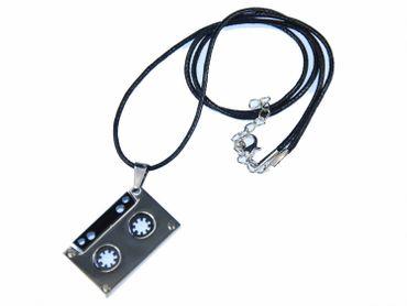 Cassette Music Necklace Miniblings Fabric Ribbon Tape DJ Mc Silver – Bild 3