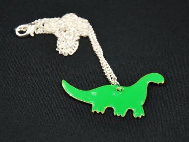 Enamel Dino Necklace Miniblings Dinosaur 45cm Brachiosaurus Green – Bild 1