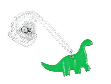 Enamel Dino Necklace Miniblings Dinosaur 45cm Brachiosaurus Green – Bild 4