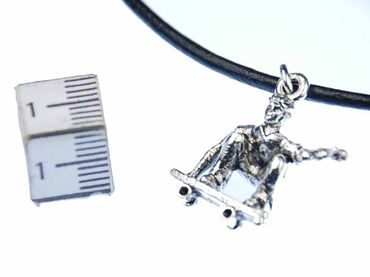 Skateboarder Necklace Miniblings 45cm Leather Skateboard Longboard Silver – Bild 3