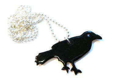 Enamel Raven Necklace Miniblings Necklace Animal Bird Crow 80cm Black – Bild 2