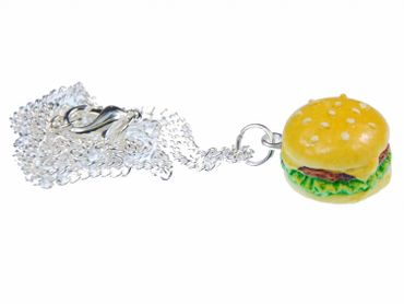 Hamburger Big Kette Halskette Miniblings 45cm Cheesburger Fast Food Burger XL – Bild 1