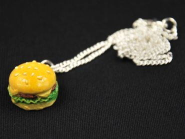 Hamburger Big Kette Halskette Miniblings 45cm Cheesburger Fast Food Burger XL – Bild 2