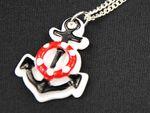 Anker auf weiß Kette Halskette Miniblings 45cm Rettungsring Maritim 2 in 1 Meer